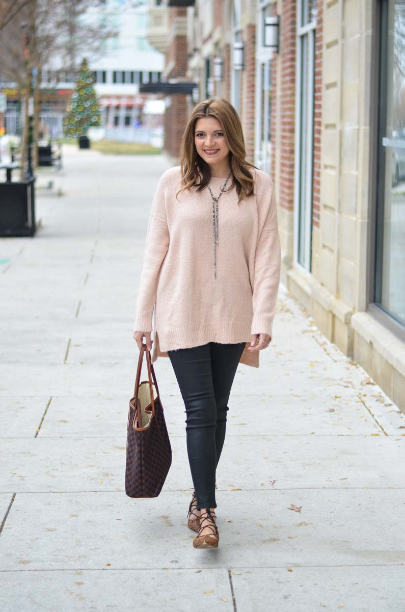 Coated Skinny Jeans With Blush Oversized Sweater Outfit By Lauren M