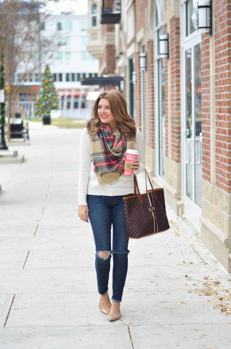 Cream Cable Knit Sweater Outfit | By Lauren M