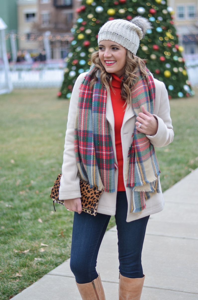 red turtleneck with cream coat and plaid scarf with pom beanie | www.bylaurenm.com