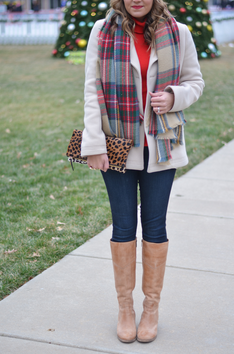 cold weather outfit - red turtleneck with cream coat, plaid scarf, and cream pom beanie | www.bylaurenm.com
