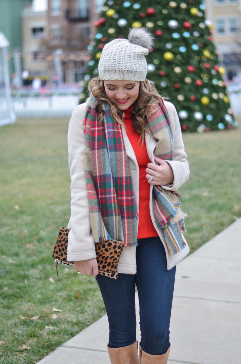 red turtleneck outfit - plaid scarf with pom beanie | www.bylaurenm.com