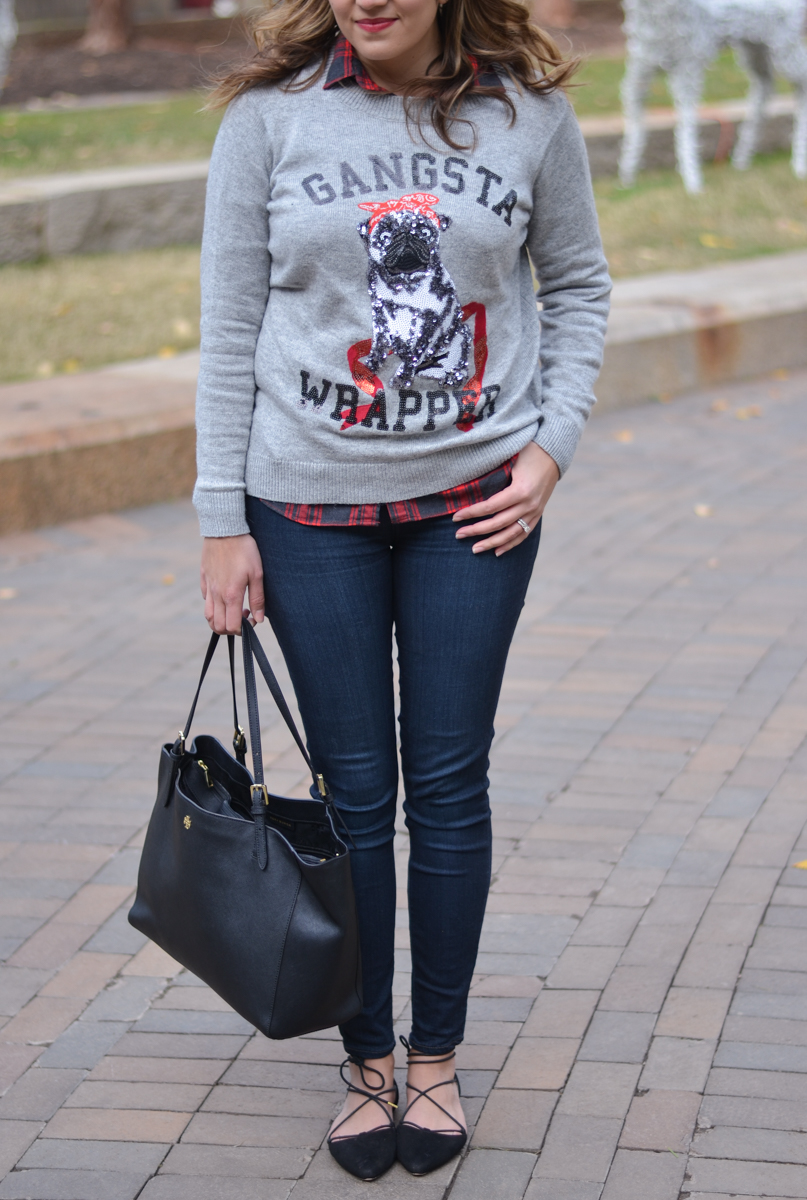 cute christmas sweater outfit - sequin sweater with plaid top | www.bylaurenm.com