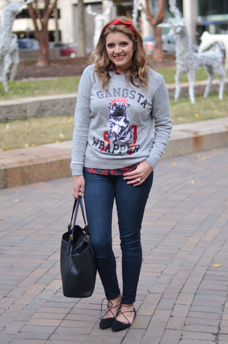 tacky sweater outfit - sequin christmas sweater with plaid top | www.bylaurenm.com