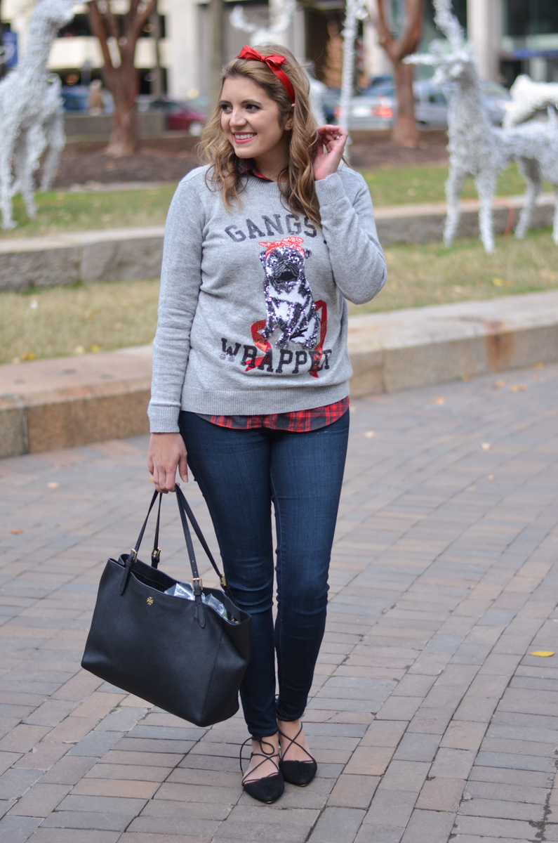 christmas sweater outfit - sequin christmas sweater with plaid top and skinny jeans | www.bylaurenm.com