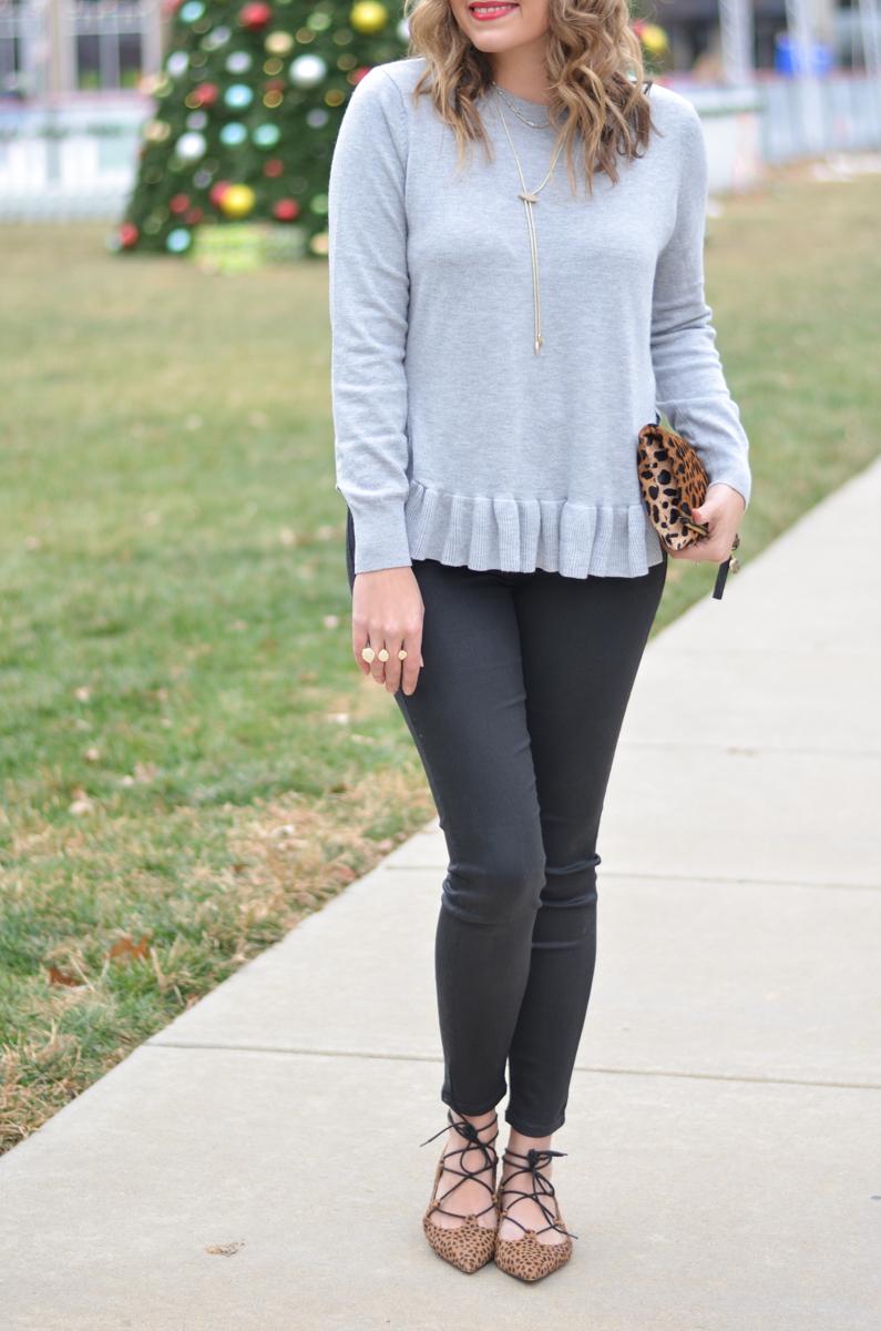 gray ruffle sweater, black coated jeans, cheetah print flats | www.bylaurenm.com
