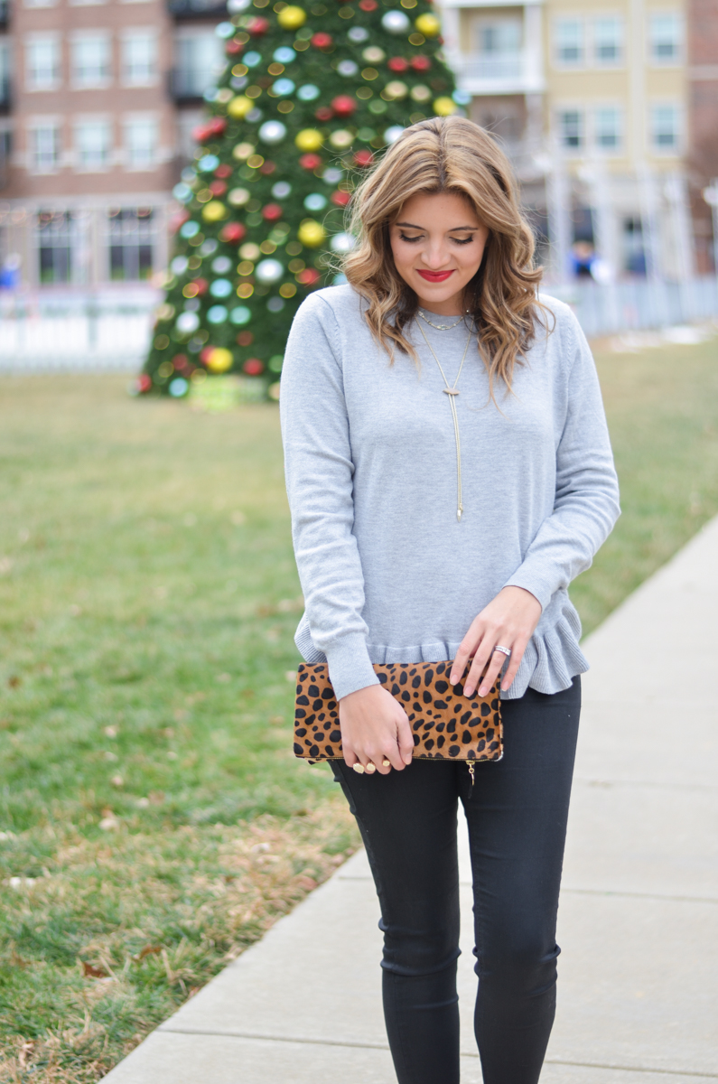 gray ruffle sweater with cheetah print foldover clutch | www.bylaurenm.com