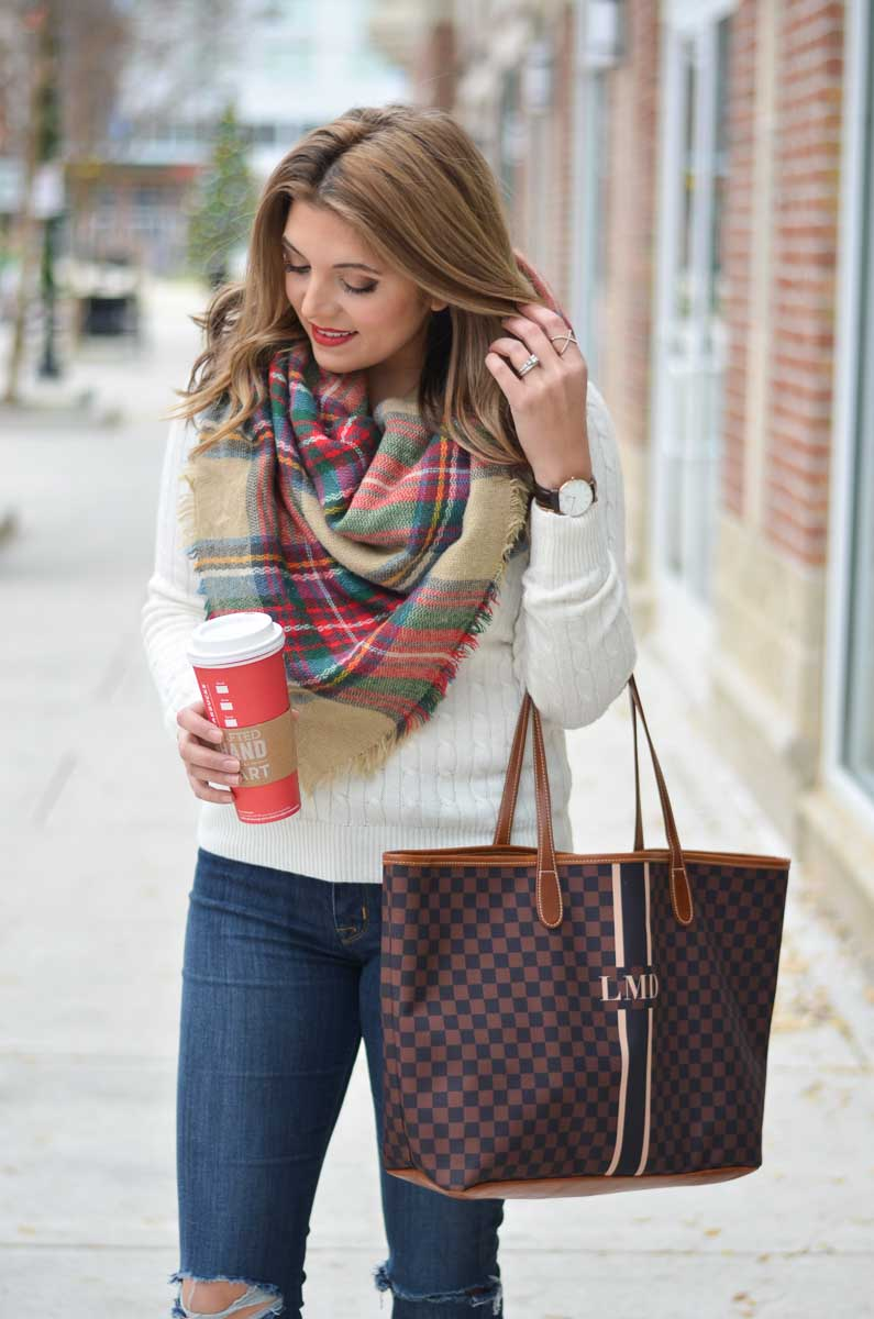 3fcf0a730e cream cable knit sweater outfit with plaid blanket scarf and barrington  gifts tote
