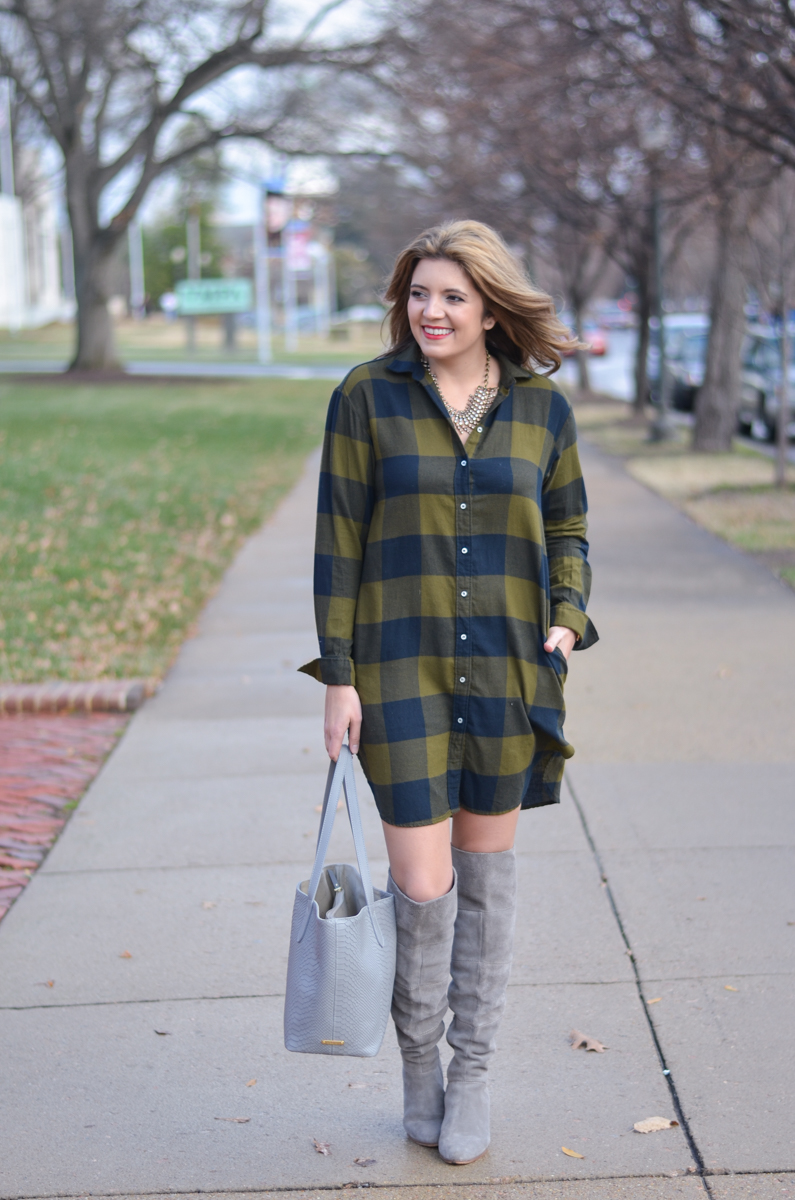 how wear plaid shirtdress - buffalo plaid shirt dress with gray suede boots | www.bylaurenm.com