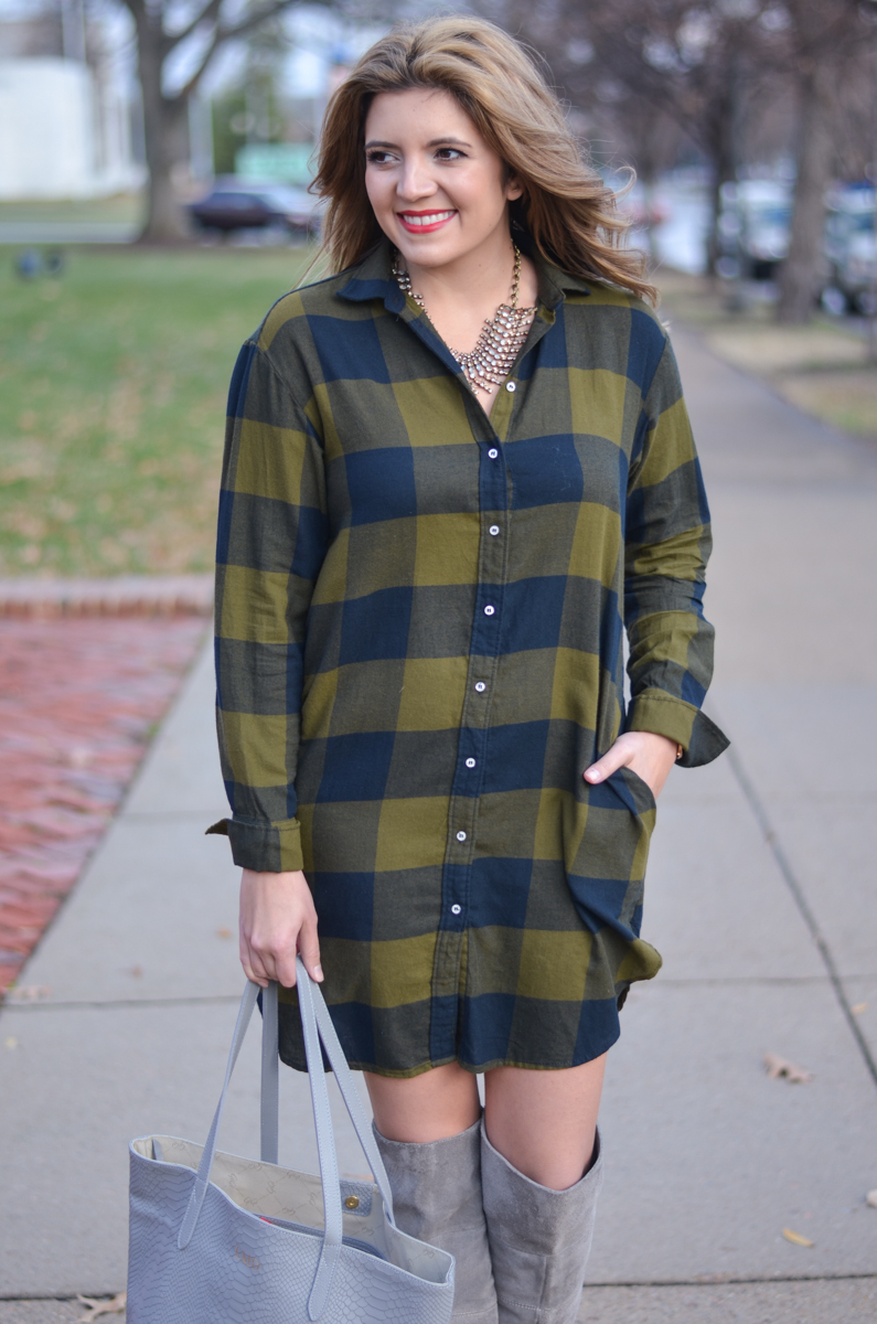 ways wear plaid shirtdress - buffalo plaid shirt dress | www.bylaurenm.com