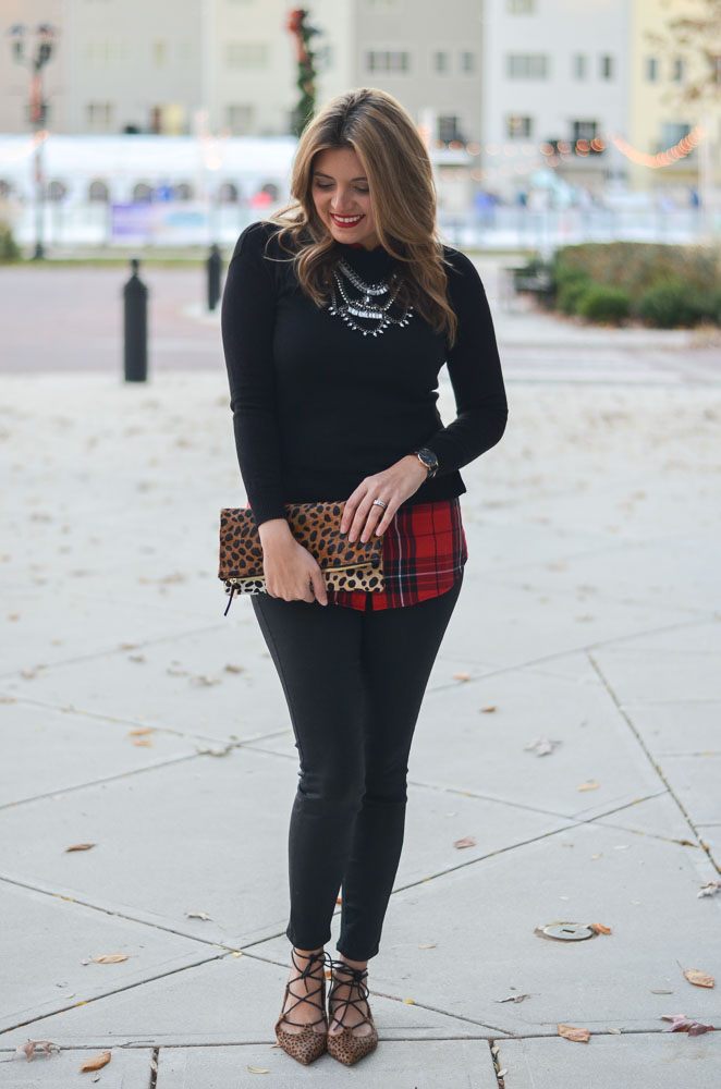 red plaid and cheetah print - black sweater with red plaid top and black skinny jeans with cheetah print accessories | www.bylaurenm.com