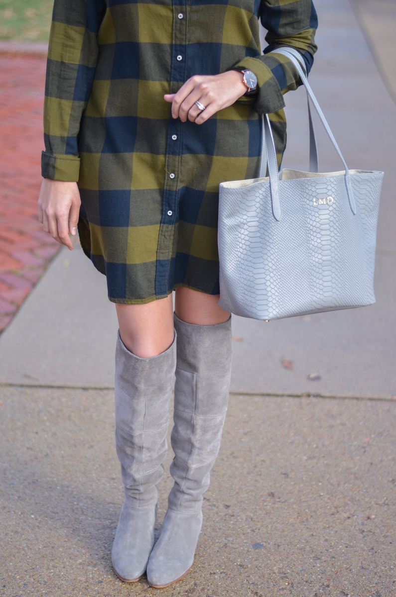 gray suede over the knee boots with plaid dress | www.bylaurenm.com