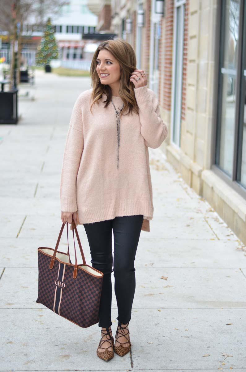 Oversized Blush Sweater Black Coated Jeans Outfit By Lauren M
