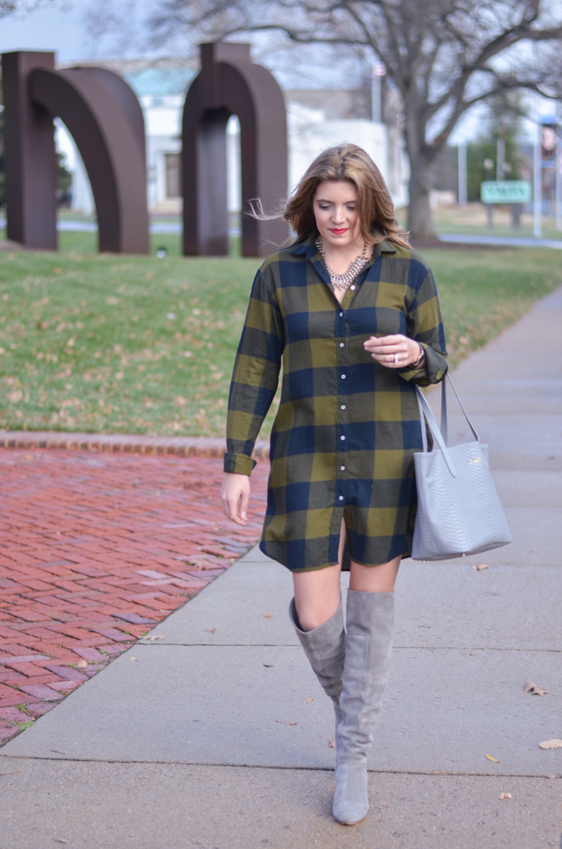 plaid shirtdress outfit - buffalo plaid dress with gray suede over the knee boots | www.bylaurenm.com