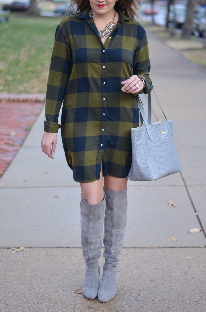 plaid shirtdress outfit - buffalo plaid shirtdress with suede over the knee boots | www.bylaurenm.com