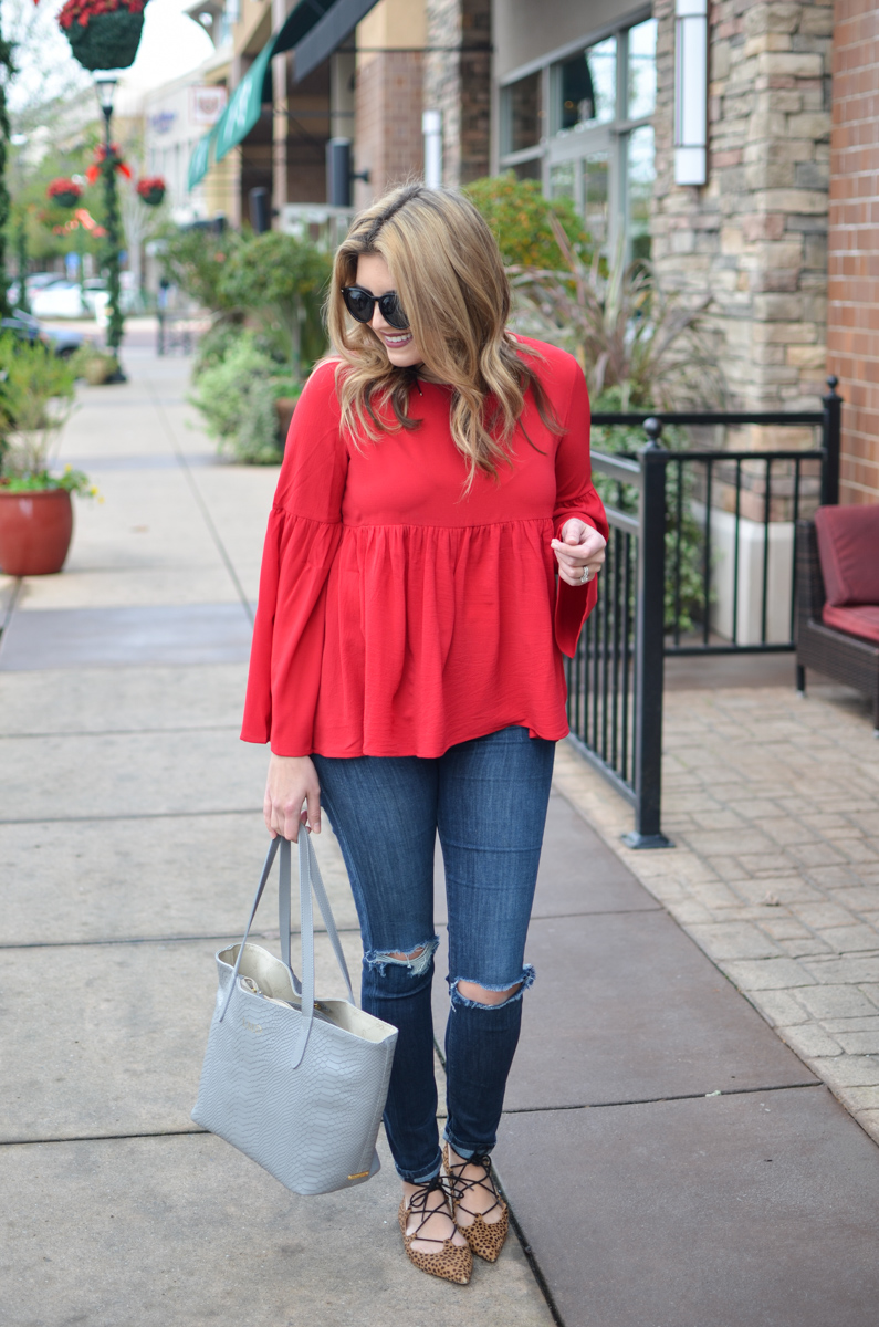 red bell sleeve top outfit - bell sleeve top with distressed skinny jeans | www.bylaurenm.com