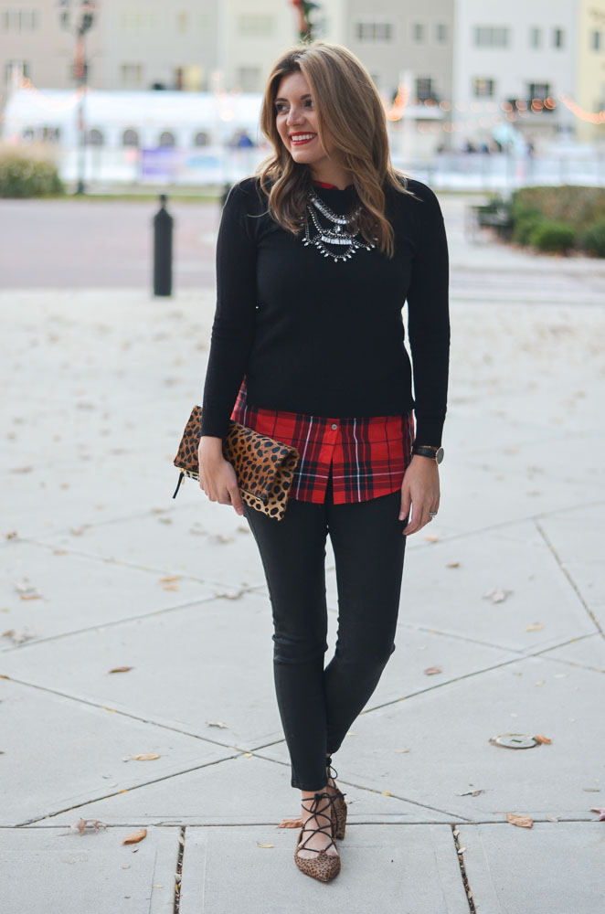 plaid and cheetah holiday style - red plaid top with a sweater | www.bylaurenm.com