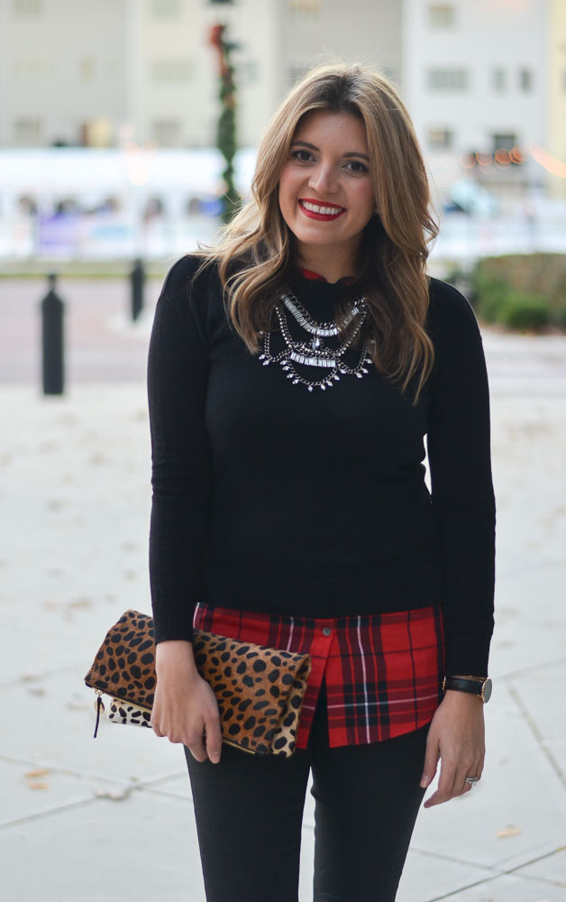 holiday style - red plaid top with black sweater | www.bylaurenm.com