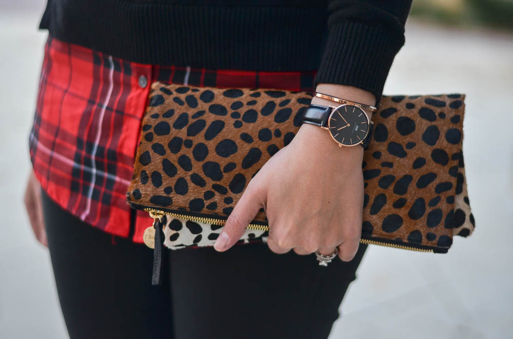cheetah print foldover clutch with red plaid and classic black daniel wellington watch | www.bylaurenm.com