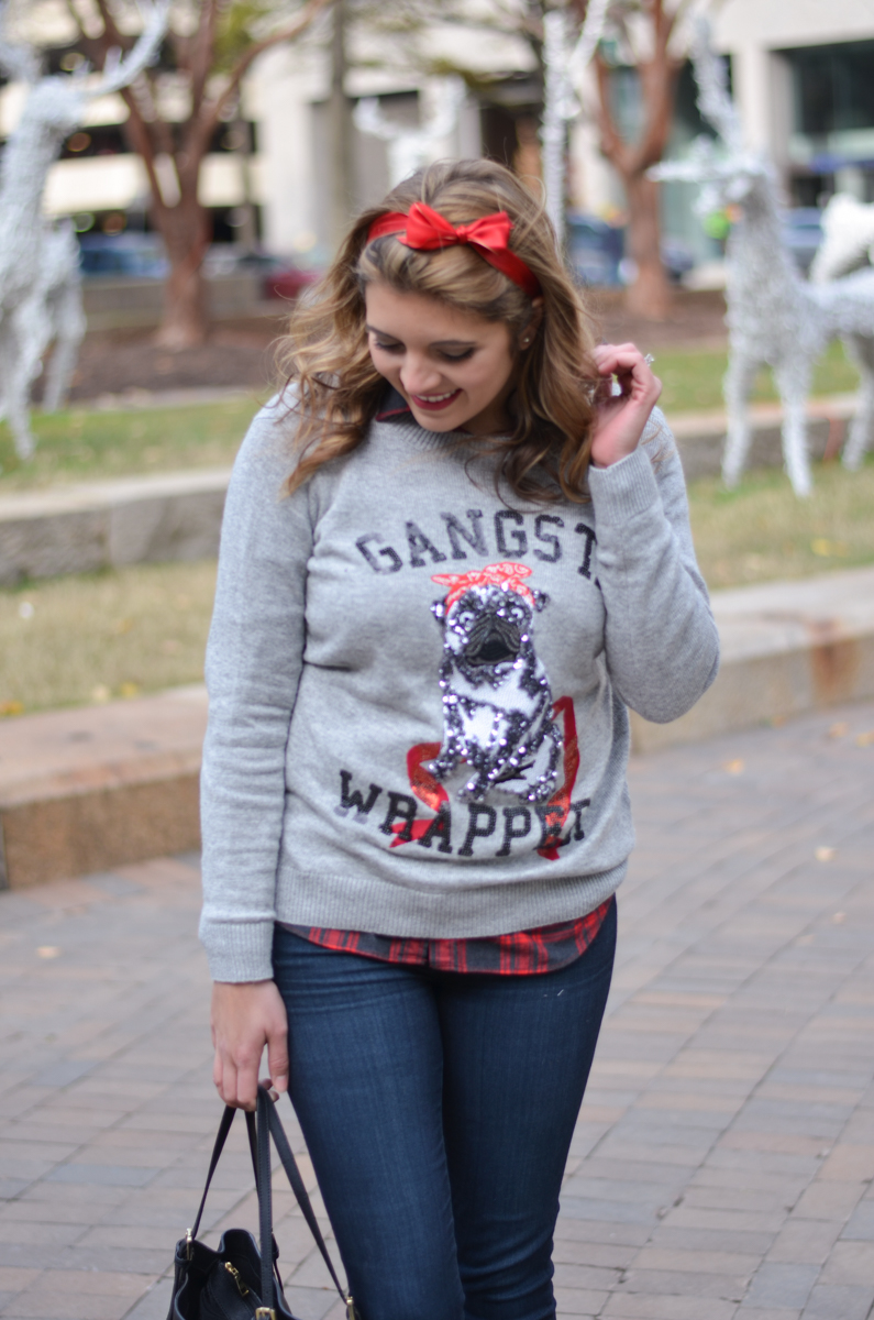 cute tacky sweater outfit - sequin holiday sweater with plaid | www.bylaurenm.com
