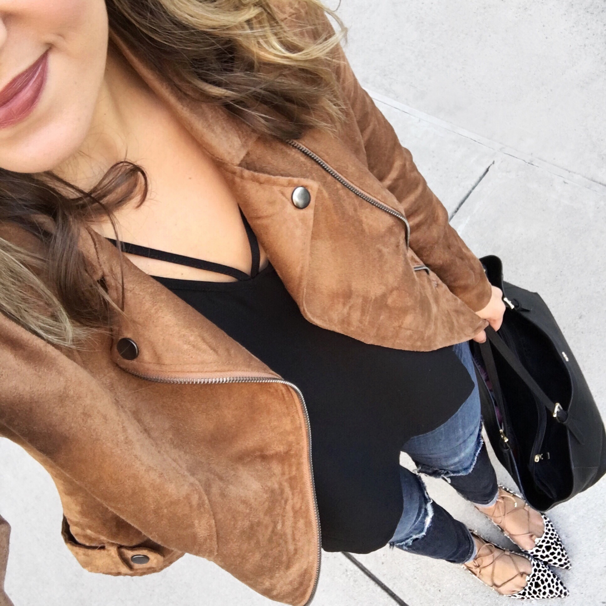 suede jacket - with black strappy camisole | instagram.com/laurenmdix