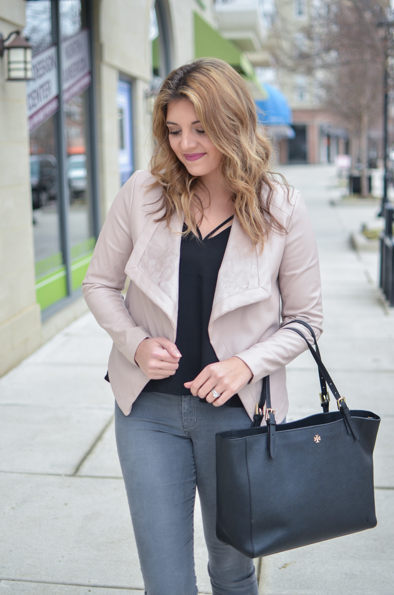 blush leather jacket outfit - blush jacket with black tank and grey jeans! Click through to see more casual outfits or to shop this look! | www.bylaurenm.com