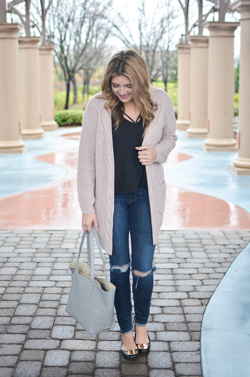 fd6d3205a8e blush pink cardigan with strappy black tank and distressed skinny jeans
