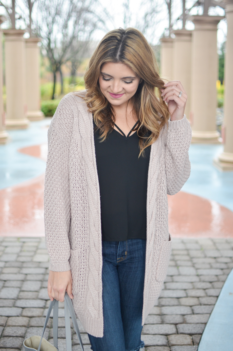pink cardigan with strappy camisole | Click through for more casual outfits or to shop this look! | www.bylaurenm.com