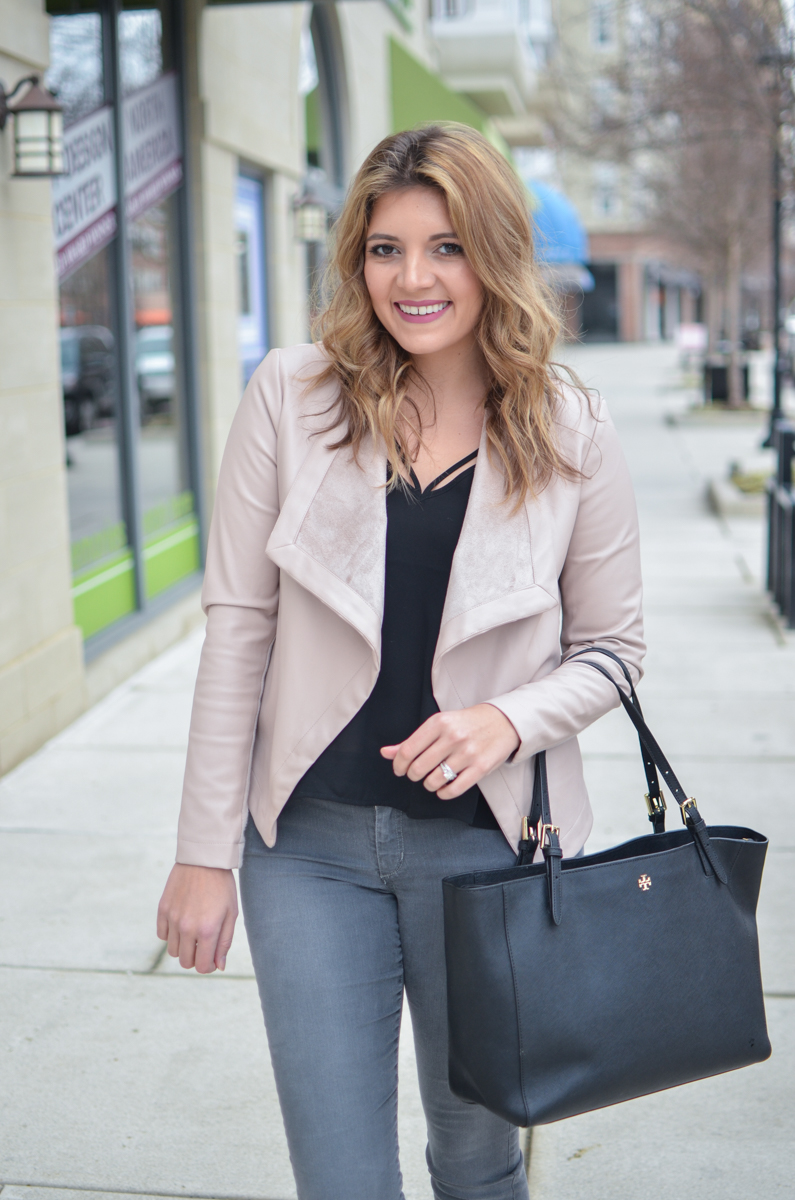 blush pink leather jacket outfit - pink jacket with black tank and grey jeans. Click through to see more casual outfits or to shop this look! | www.bylaurenm.com