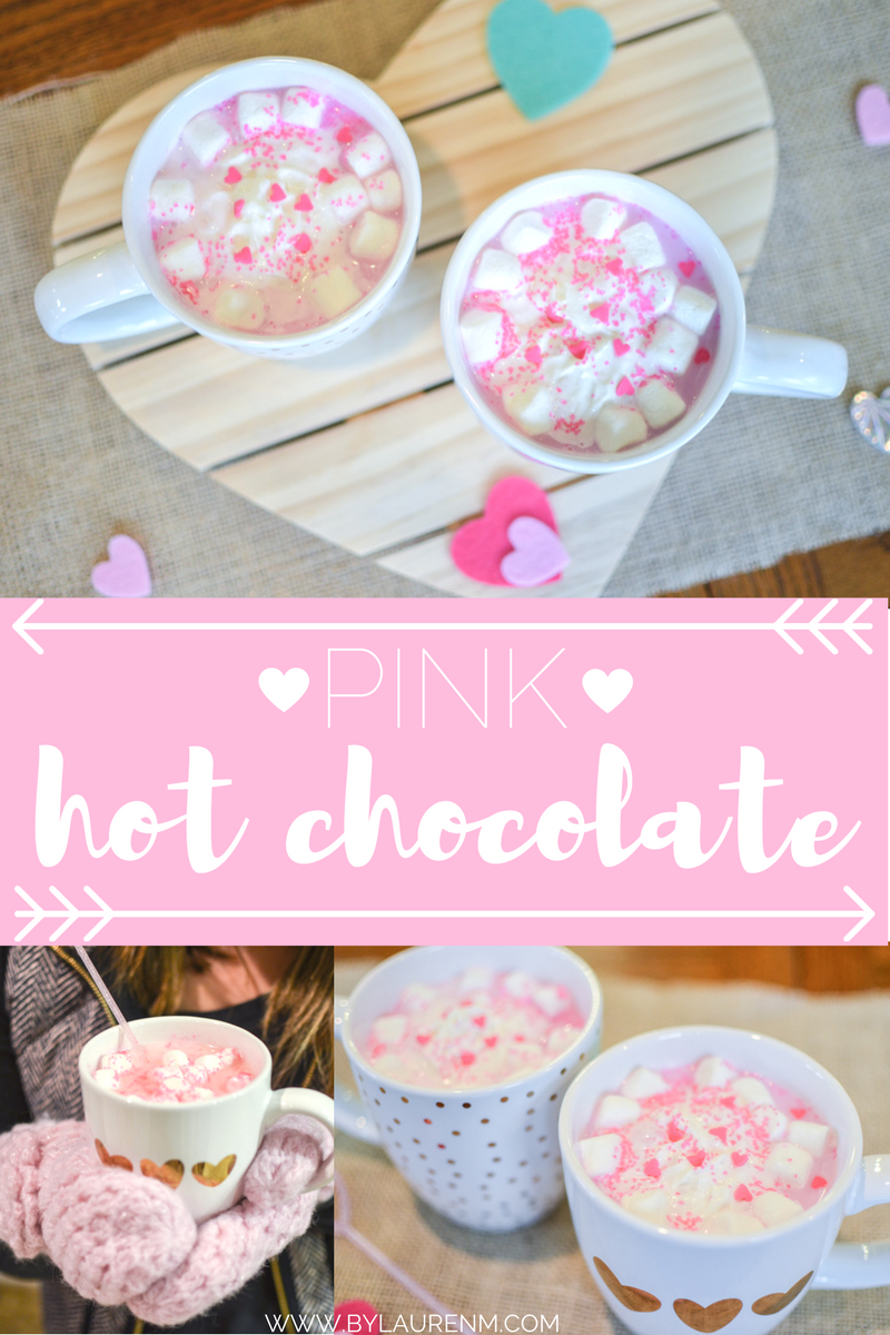 valentines recipe - pink hot chocolate. You'll love this super quick, easy pink hot chocolate recipe!   www.bylaurenm.com