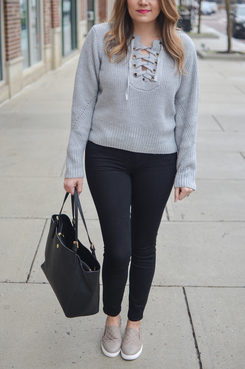 casual winter outfit - gray lace up sweater with black jeans   www.bylaurenm.com