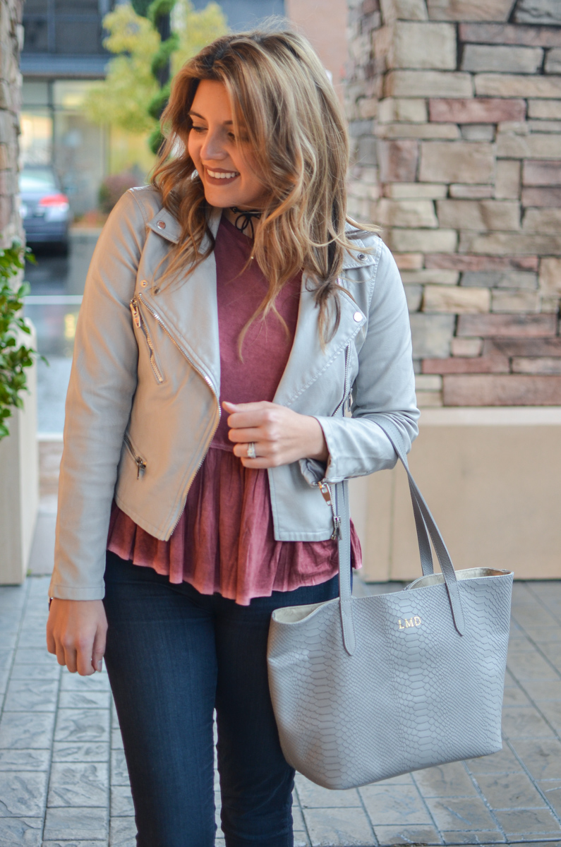 gray moto jacket outfit - moto jacket with red peplum top, dark wash skinny jeans | www.bylaurenm.com