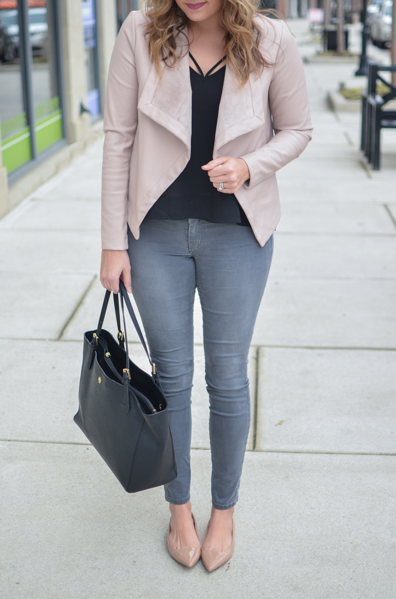 gray jeans outfit: gray jeans with blush pink leather jacket | Click through to see more casual outfits or to shop this look! | www.bylaurenm.com