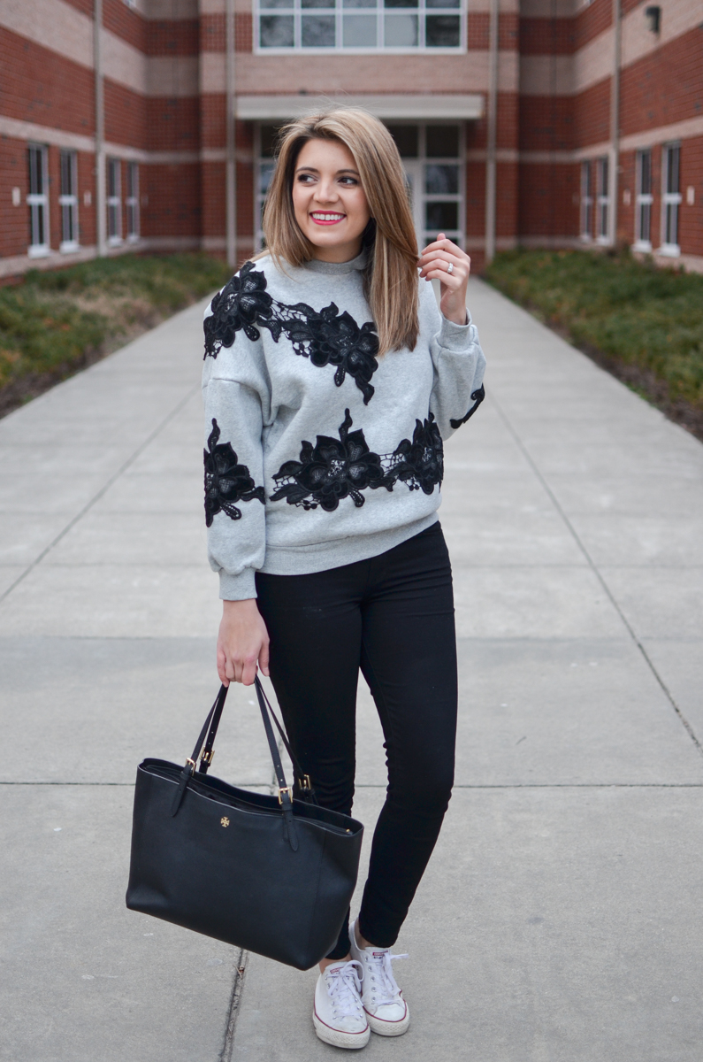 Casual sweatshirt outfit with a lace sweatshirt. Click through for more cute casual outfits or to shop this look! | www.bylaurenm.com