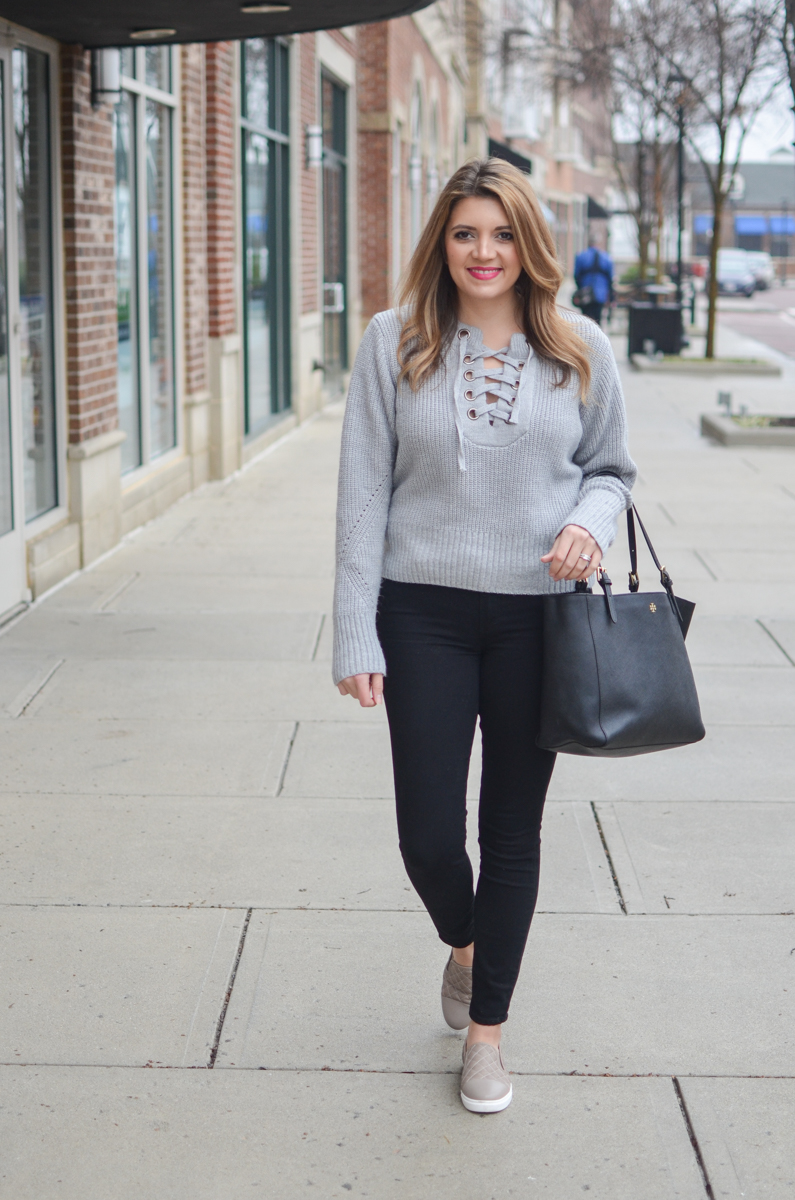 lace up sweater outfit - gray lace-up sweater with black skinny jeans   www.bylaurenm.com