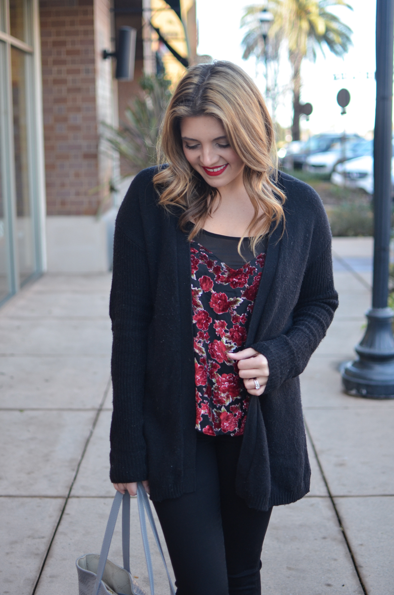 velvet tank top outfit - floral velvet camisole with black oversized cardigan. Click through for more casual outfits or to shop this look! | www.bylaurenm.com