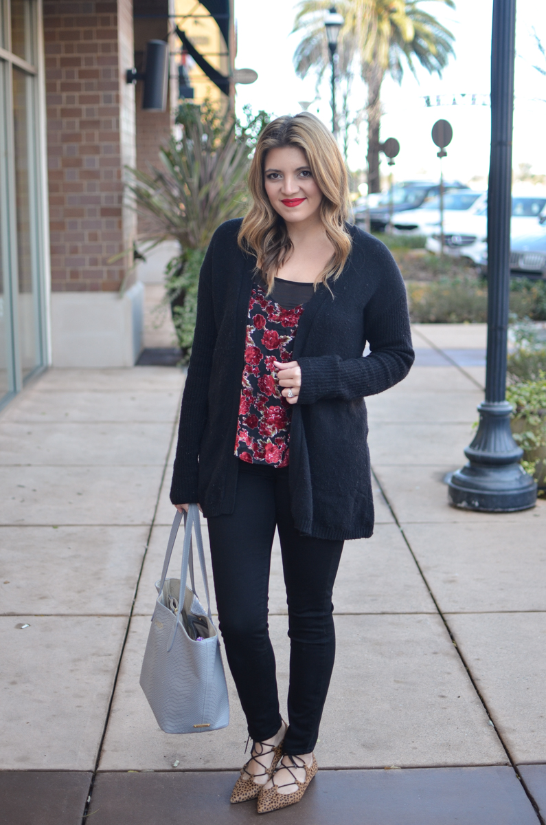 velvet cami outfit - red floral velvet tank with black cardigan and black jeans. Click through for more casual outfits or to shop this look! | www.bylaurenm.com