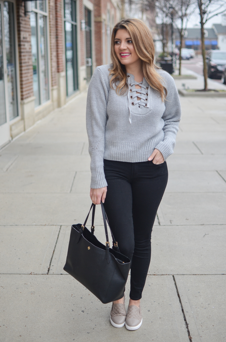 winter outfit - gray lace-up sweater with black jeans, sneakers   www.bylaurenm.com