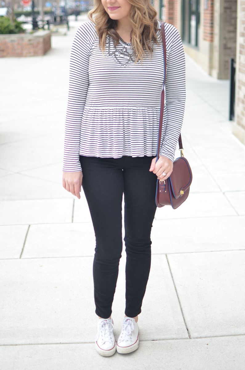 stripe peplum tshirt - peplum tee with black jeans and converse. For more cute weekend outfits or to shop this post! | www.bylaurenm.com
