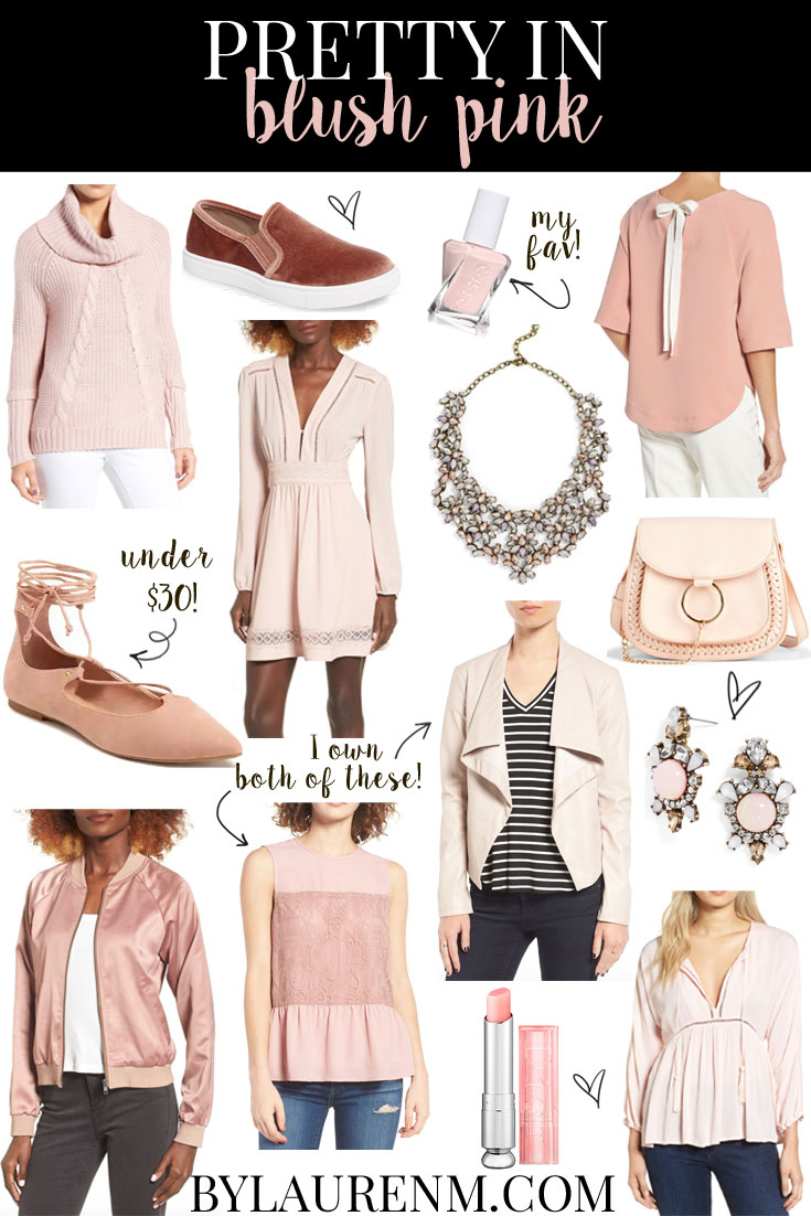 Blush pink finds under $100! The prettiest blush pink clothes and accessories perfect for Valentine's Day straight into Spring! Click through for all the details! www.bylaurenm.com