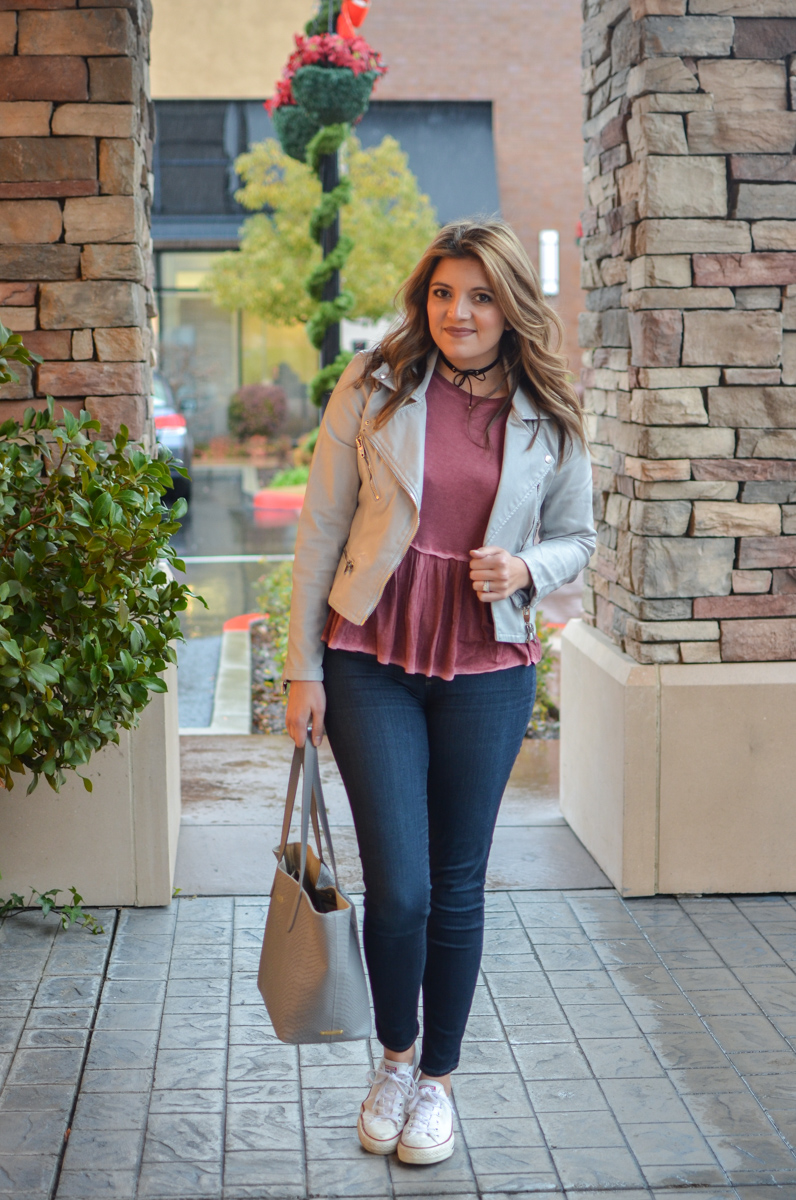 red peplum tee with gray moto jacket, high waist skinny jeans, and white converse. Click through for more cute casual outfits! | www.bylaurenm.com