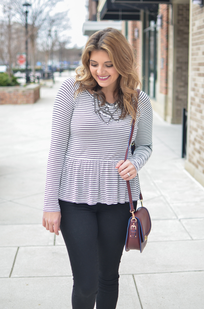 stripe peplum tshirt outfit. For more cute weekend outfits or to shop this post! | www.bylaurenm.com