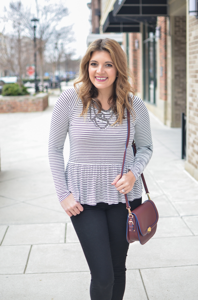 stripe peplum tee outfit - peplum tshirt + a statement necklace. For more cute weekend outfits or to shop this post! | www.bylaurenm.com