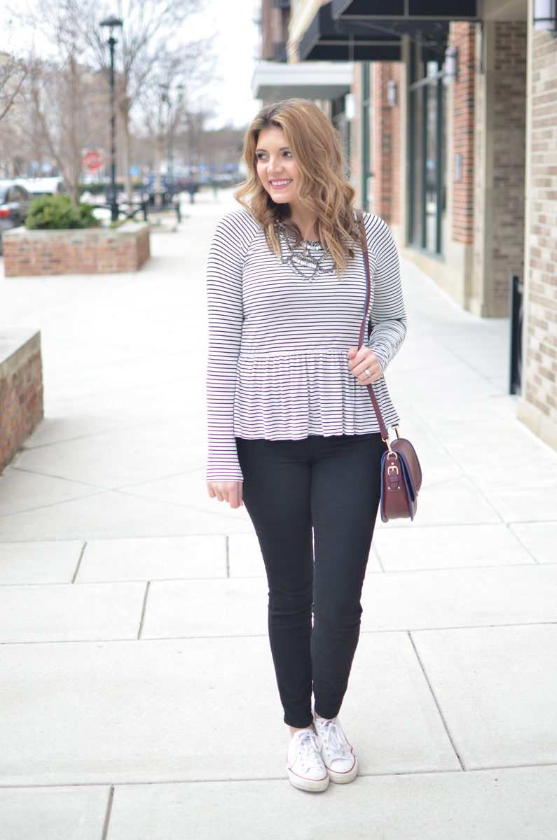 stripe peplum tshirt outfit - casual weekend style. For more cute weekend outfits or to shop this post! | www.bylaurenm.com