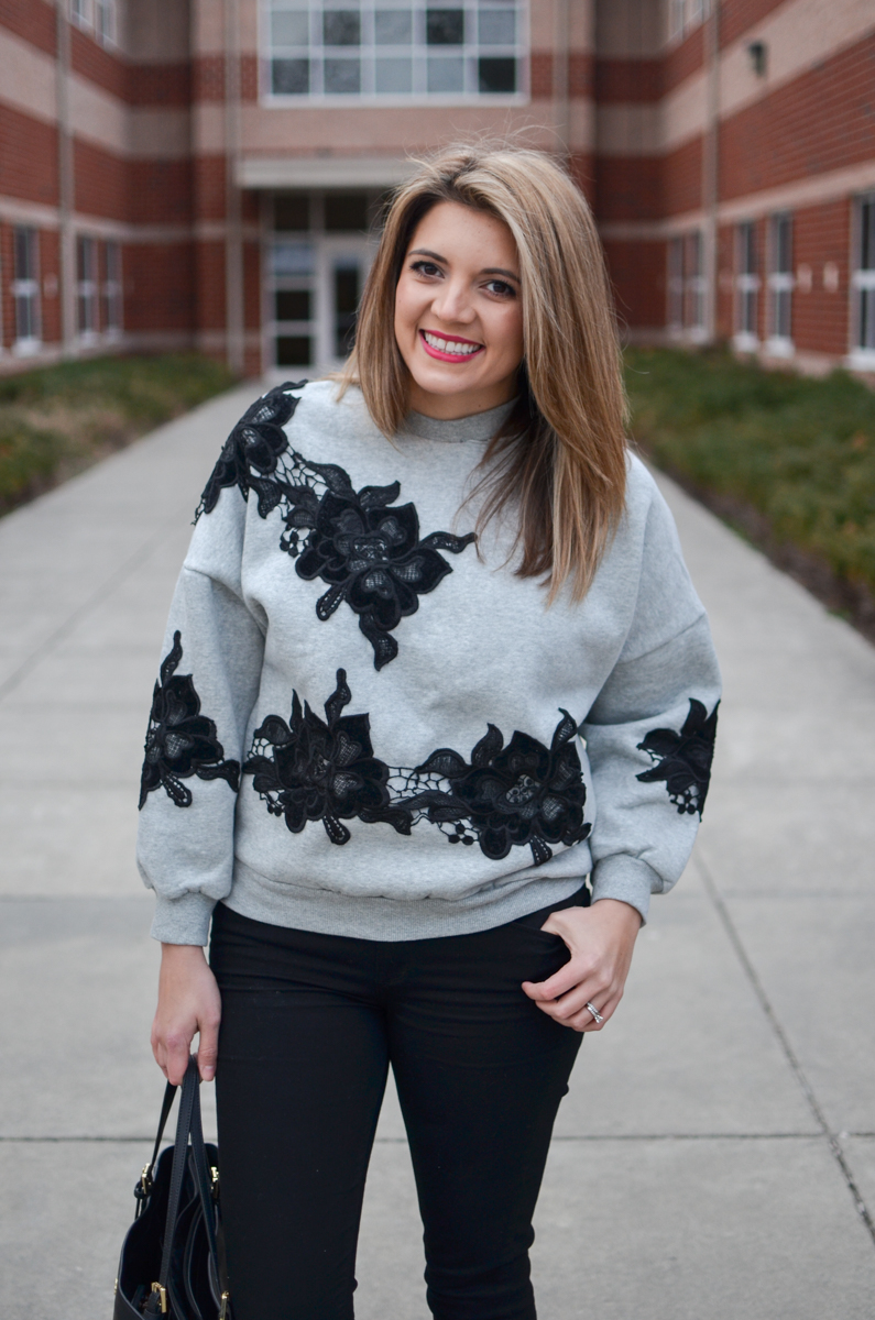 black lace sweatshirt outfit. Click through for more cute casual outfits or to shop this look! | www.bylaurenm.com