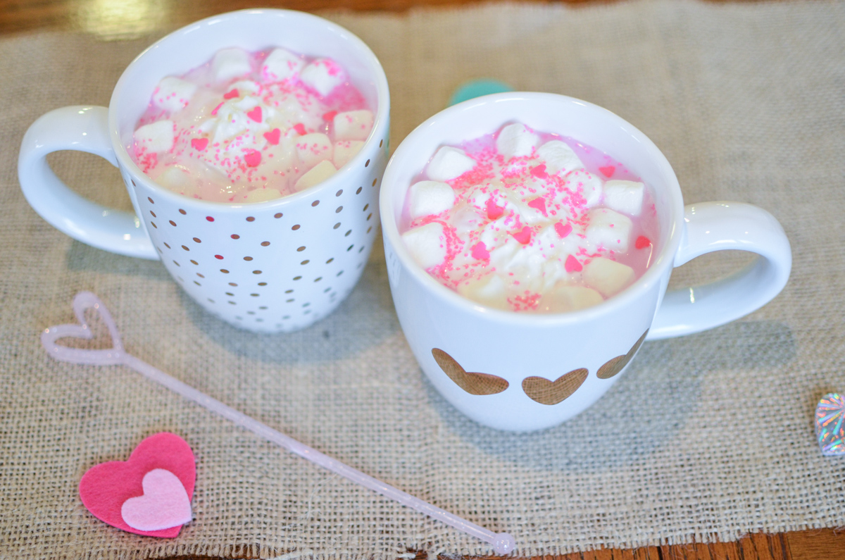 pink hot chocolate - cute kids valentine day recipe | www.bylaurenm.com