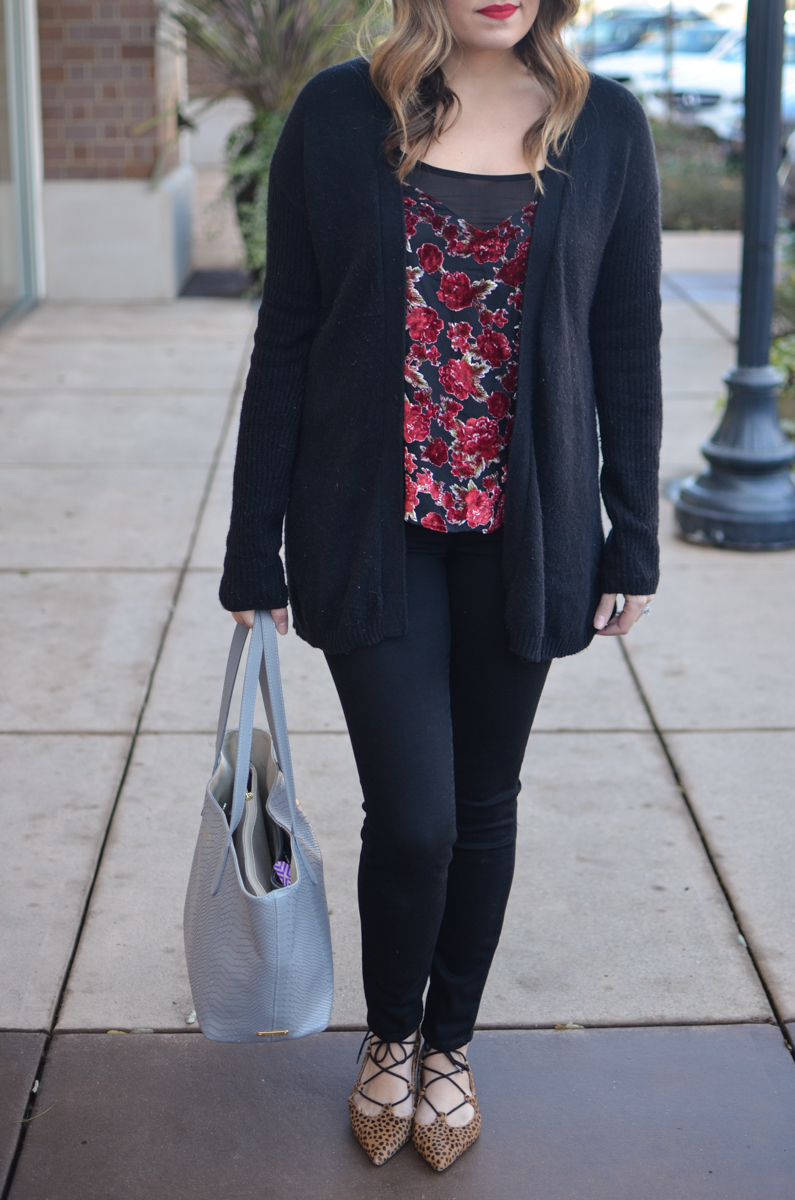 velvet floral tank top with black cardi, black jeans, and cheetah lace-up flats. Click through for more casual outfits or to shop this look! | www.bylaurenm.com