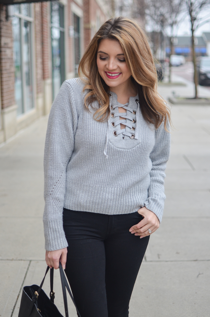 lace up sweater outfit - gray lace-up sweater   www.bylaurenm.com