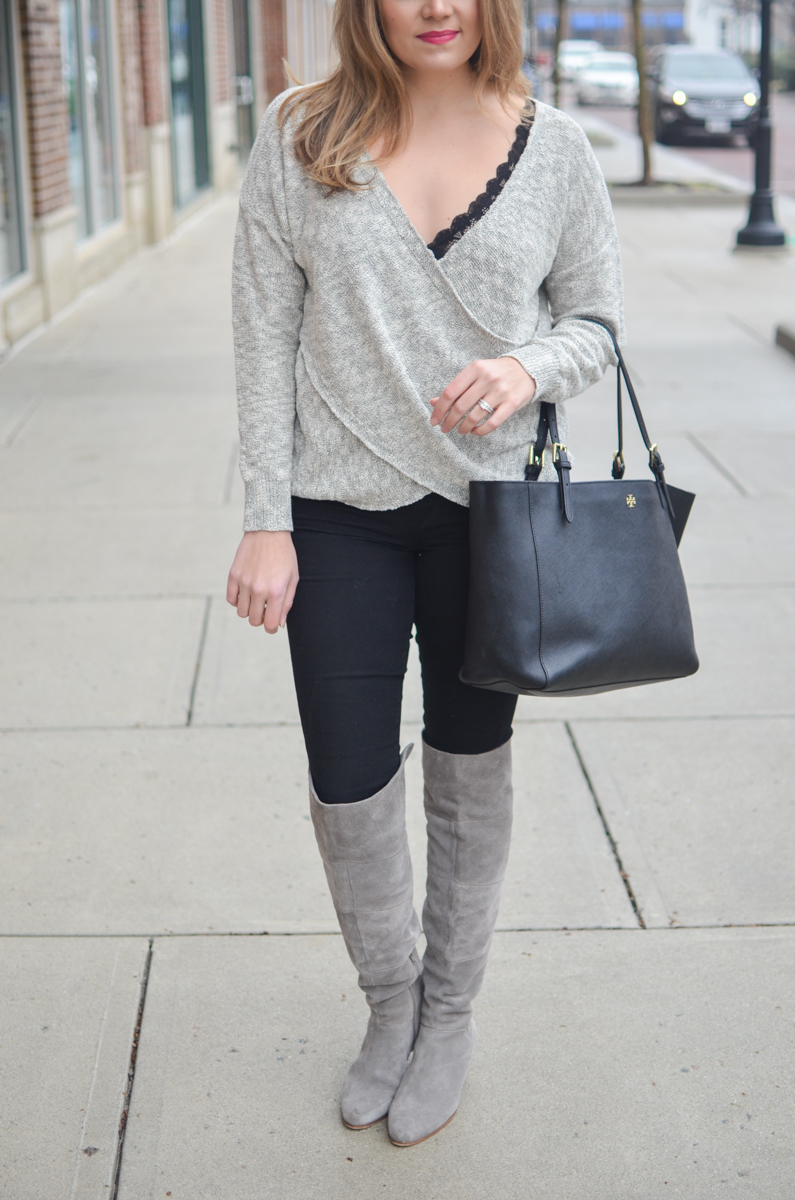wrap front sweater and black bralette - Click through for more chic Winter outfits or to shop the look! www.bylaurenm.com