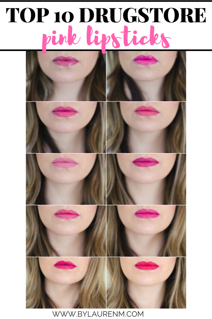 best drugstore pink lipsticks - click through for all of the details on these affordable lipsticks in the prettiest shades of pink! www.bylaurenm.com