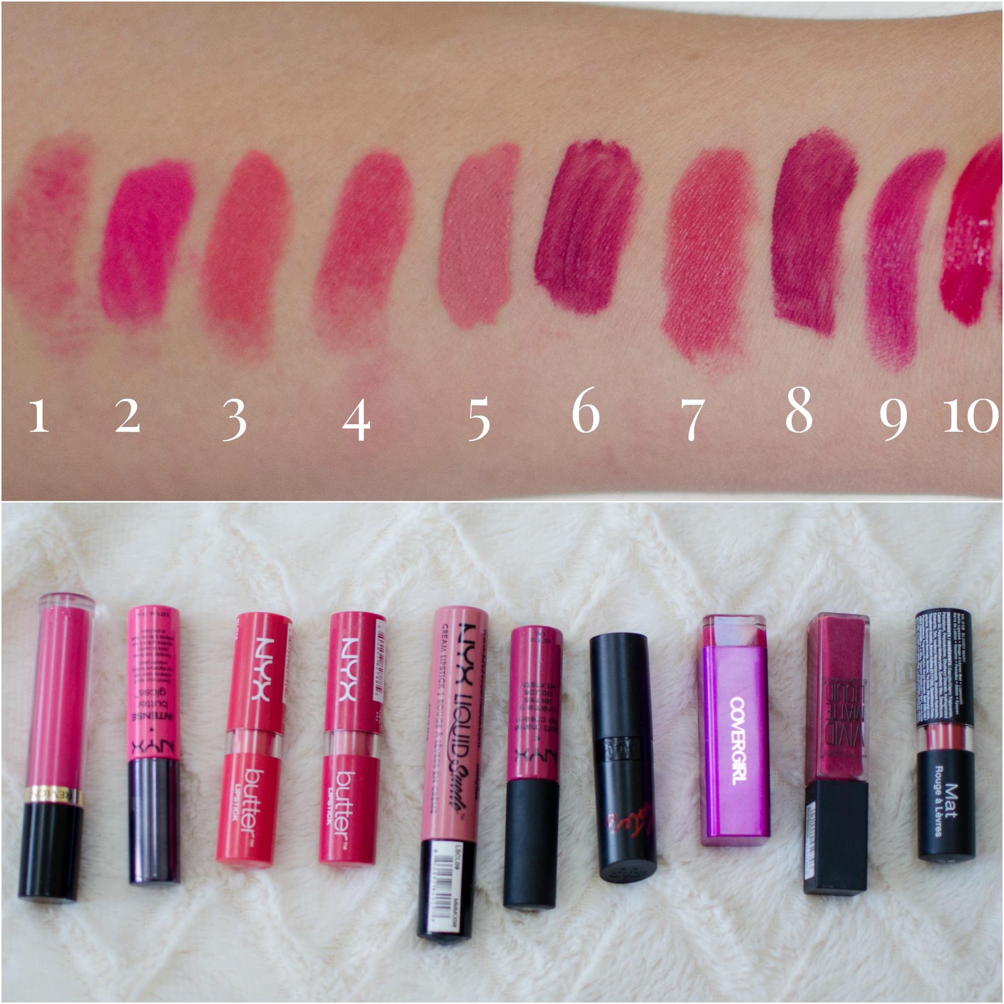 best drugstore pink lipstick swatches | www.bylaurenm.com